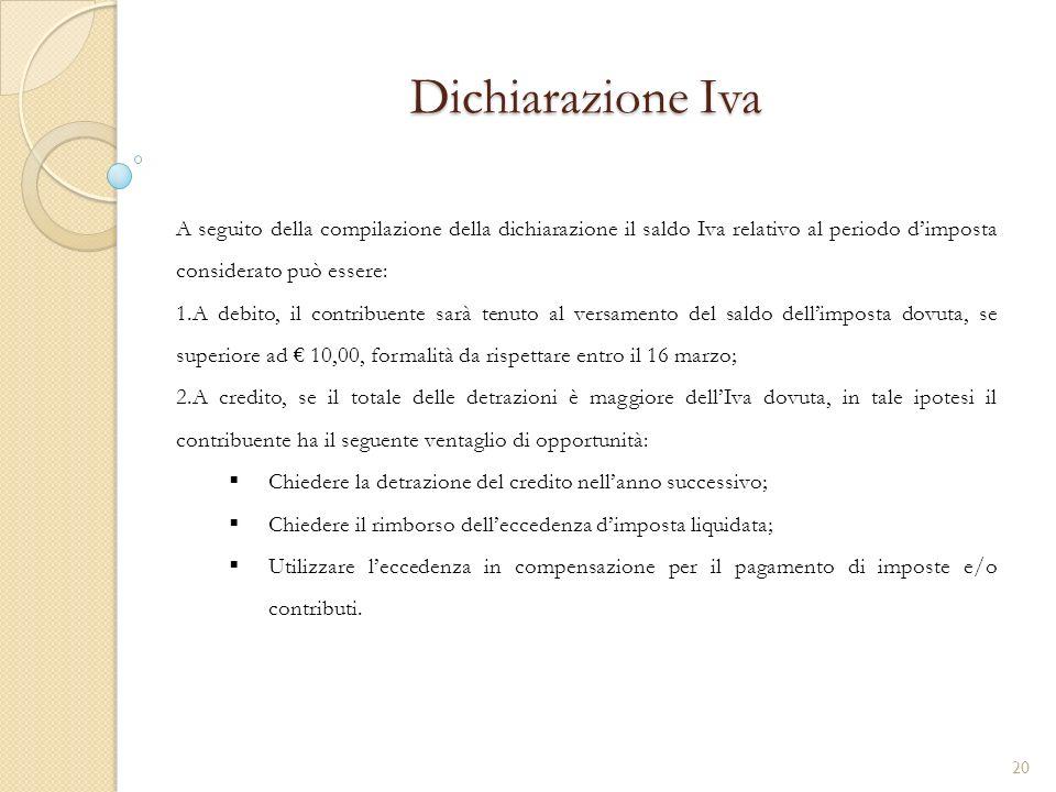 Dichiarazione Iva A seguito della compilazione della dichiarazione il saldo Iva relativo al periodo d'imposta considerato può essere: