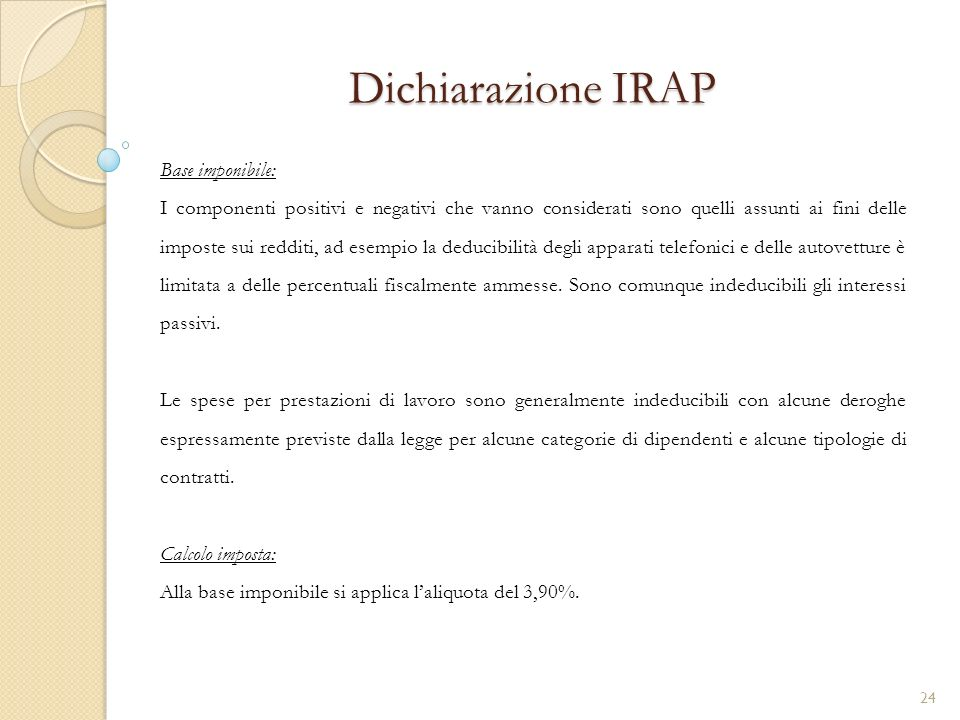 Dichiarazione IRAP Base imponibile: