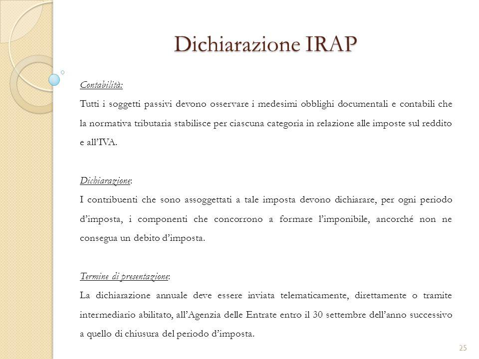 Dichiarazione IRAP Contabilità: