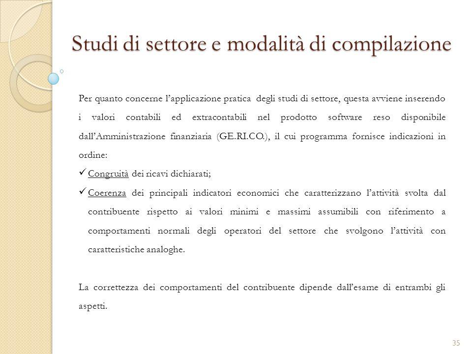 Studi di settore e modalità di compilazione