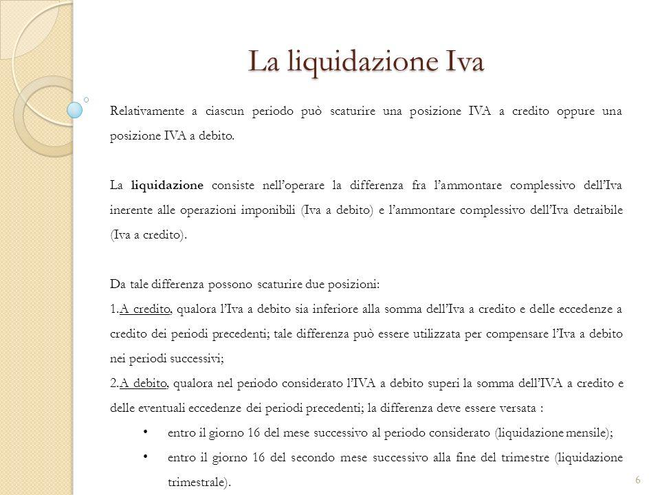 La liquidazione Iva Relativamente a ciascun periodo può scaturire una posizione IVA a credito oppure una posizione IVA a debito.
