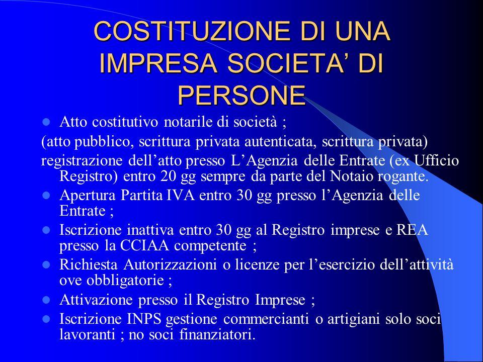COSTITUZIONE DI UNA IMPRESA SOCIETA' DI PERSONE