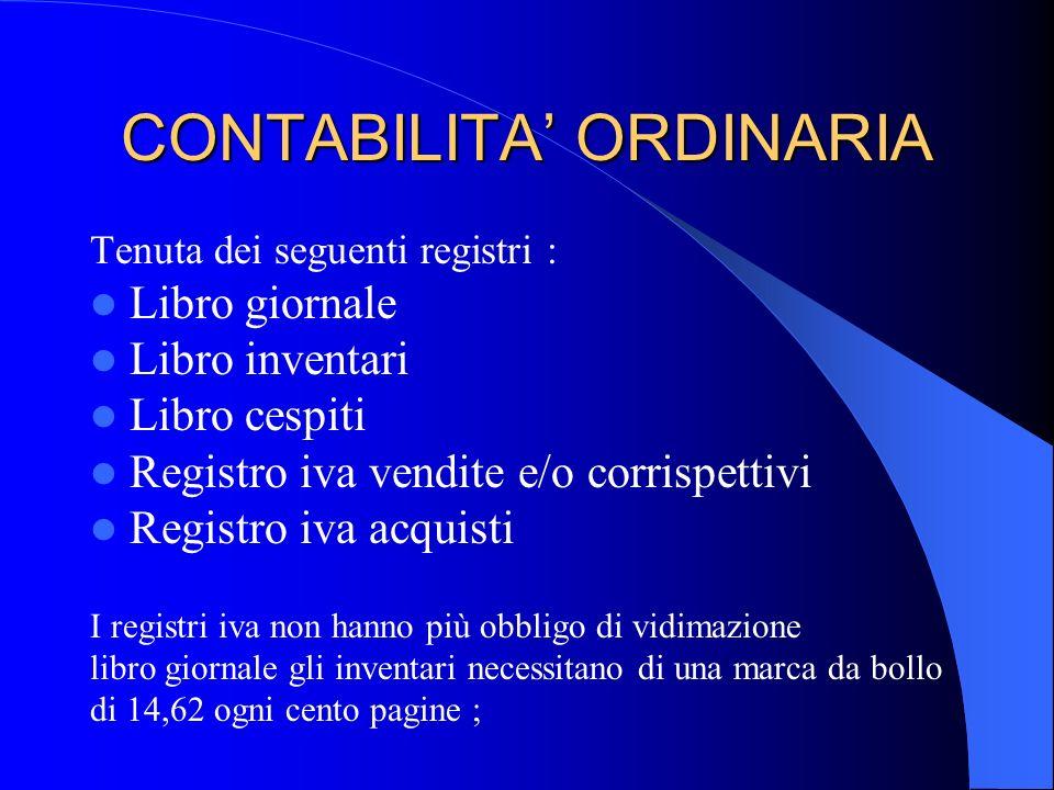 CONTABILITA' ORDINARIA