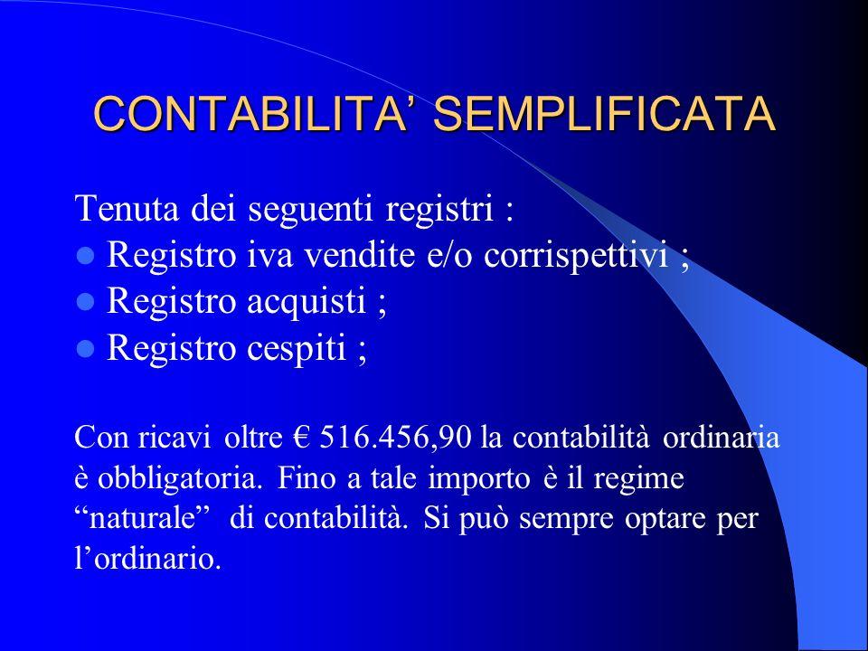 CONTABILITA' SEMPLIFICATA