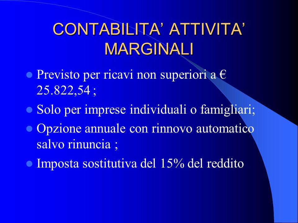 CONTABILITA' ATTIVITA' MARGINALI