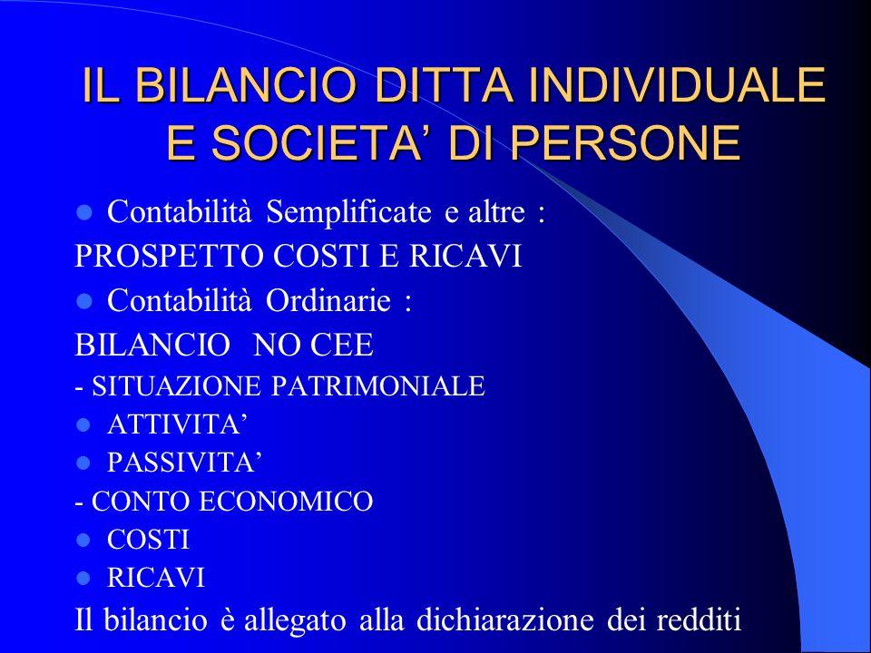 IL BILANCIO DITTA INDIVIDUALE E SOCIETA' DI PERSONE
