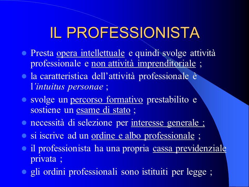 IL PROFESSIONISTA Presta opera intellettuale e quindi svolge attività professionale e non attività imprenditoriale ;