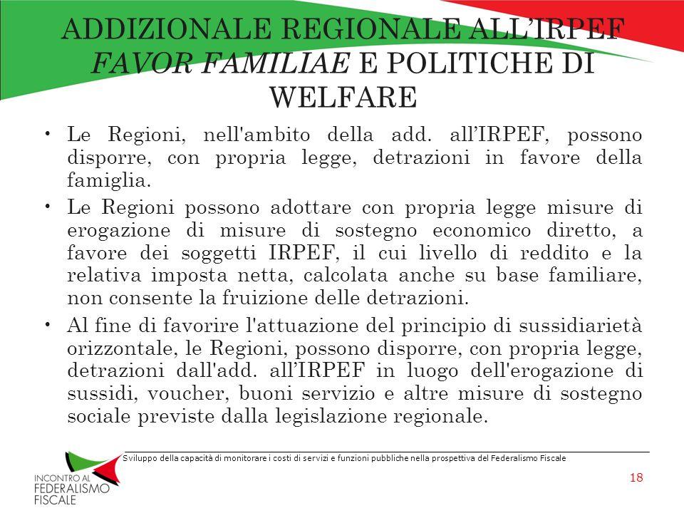 ADDIZIONALE REGIONALE ALL'IRPEF FAVOR FAMILIAE E POLITICHE DI WELFARE