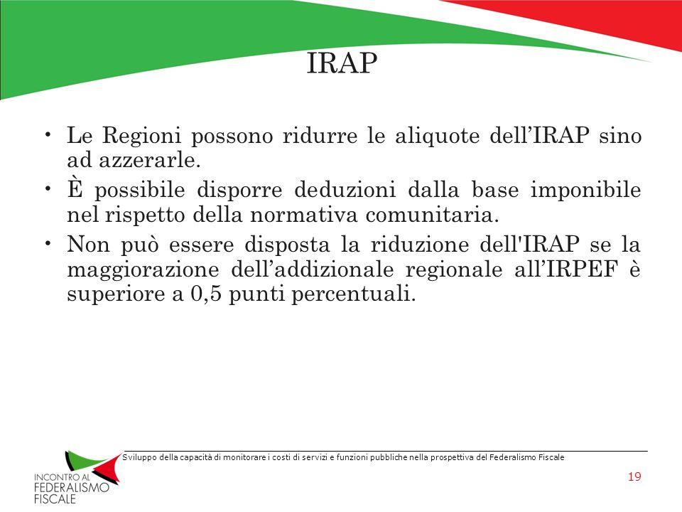 IRAP Le Regioni possono ridurre le aliquote dell'IRAP sino ad azzerarle.