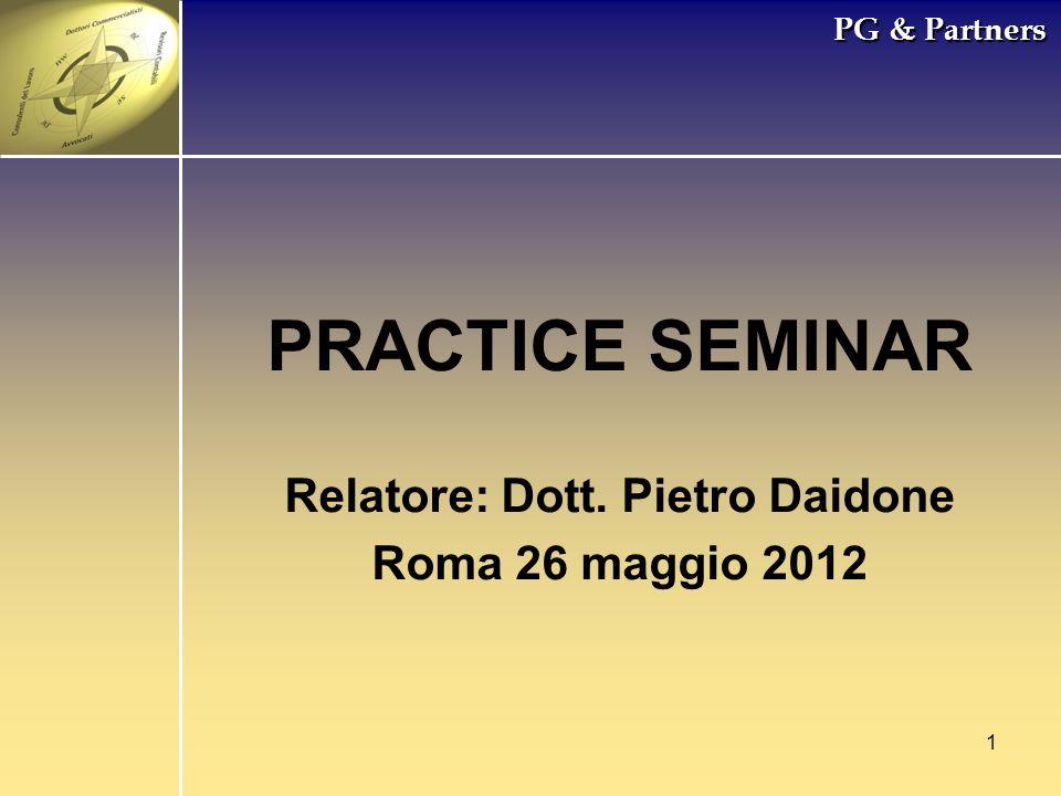 Relatore: Dott. Pietro Daidone