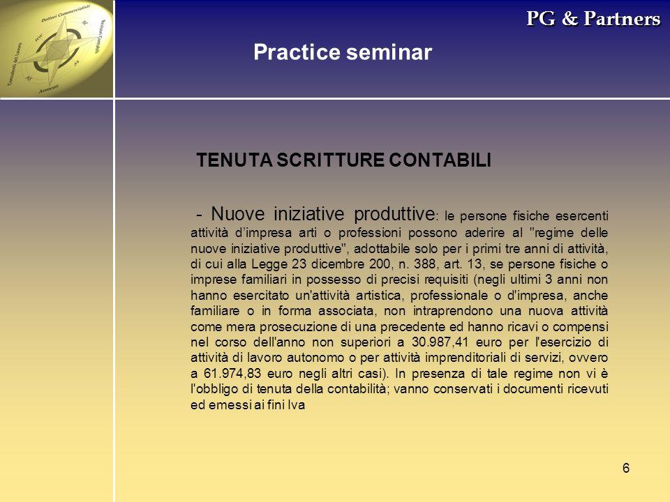 Practice seminar PG & Partners TENUTA SCRITTURE CONTABILI
