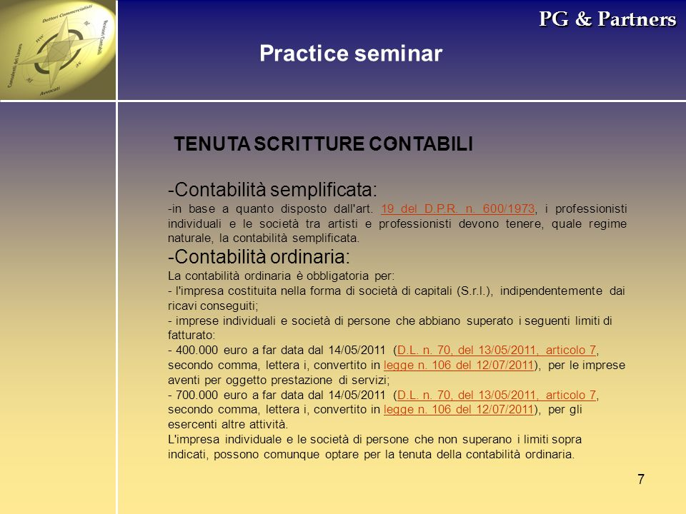 . Practice seminar PG & Partners TENUTA SCRITTURE CONTABILI
