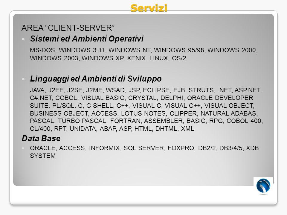 Servizi AREA CLIENT-SERVER Sistemi ed Ambienti Operativi