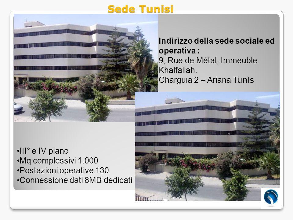 Sede Tunisi Indirizzo della sede sociale ed operativa :