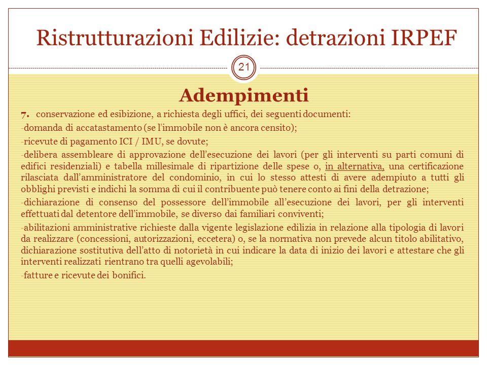 Ristrutturazioni Edilizie: detrazioni IRPEF
