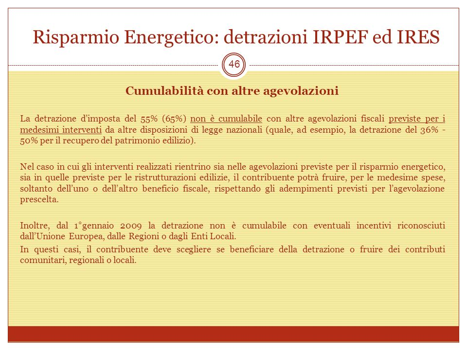 Risparmio Energetico: detrazioni IRPEF ed IRES