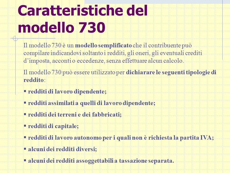 Caratteristiche del modello 730