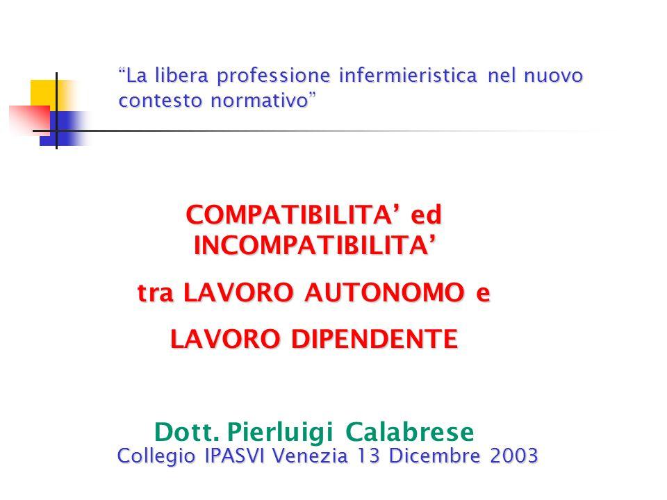 COMPATIBILITA' ed INCOMPATIBILITA' Dott. Pierluigi Calabrese