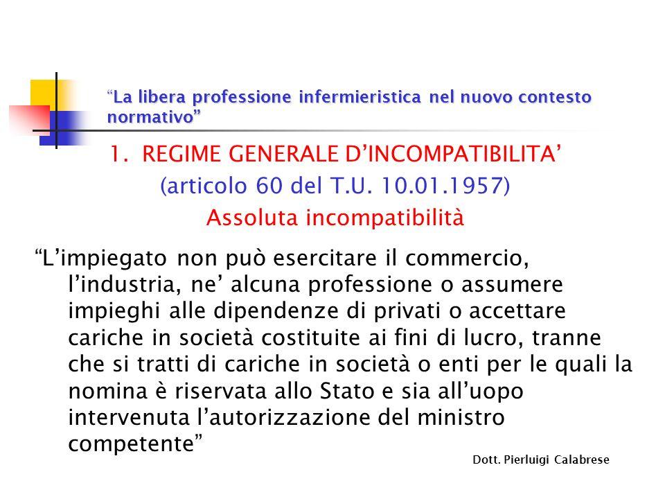 REGIME GENERALE D'INCOMPATIBILITA' (articolo 60 del T.U. 10.01.1957)