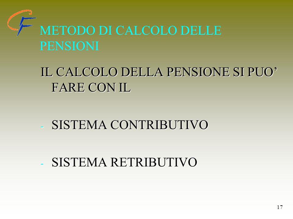 METODO DI CALCOLO DELLE PENSIONI