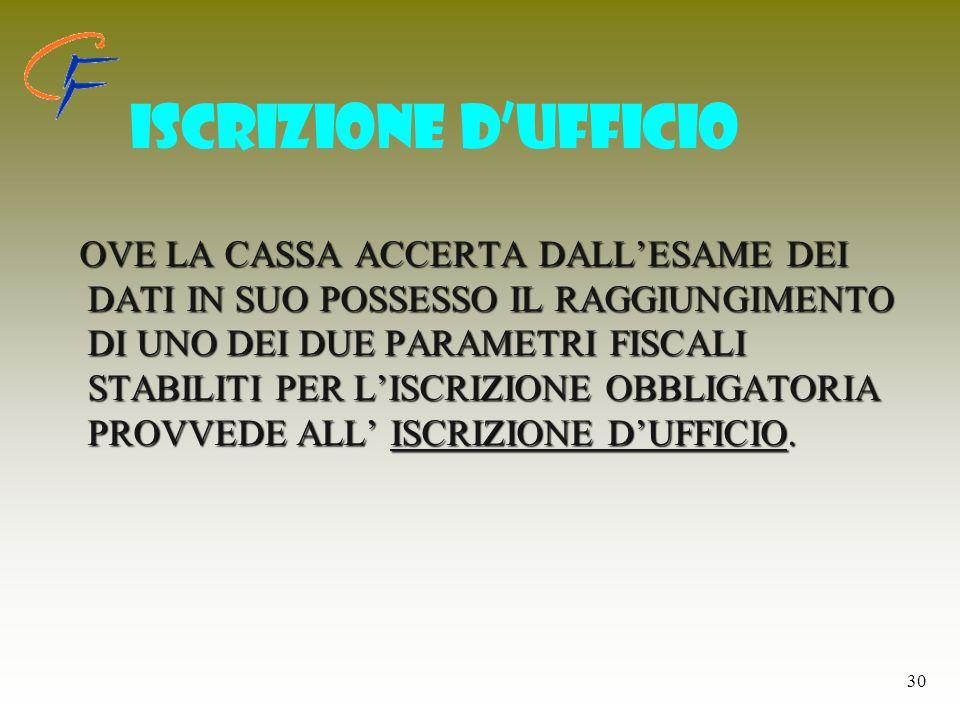 ISCRIZIONE D'UFFICIO
