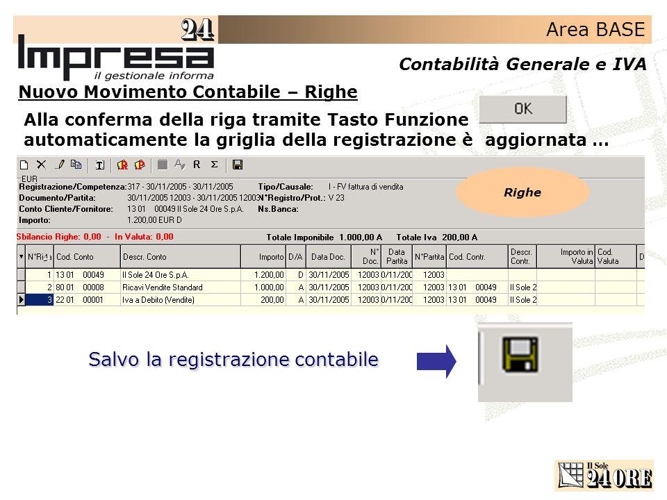 Salvo la registrazione contabile