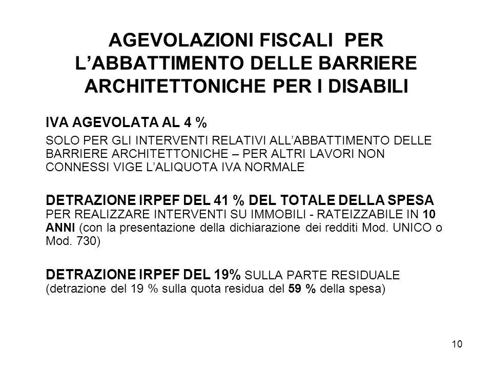 AGEVOLAZIONI FISCALI PER L'ABBATTIMENTO DELLE BARRIERE ARCHITETTONICHE PER I DISABILI