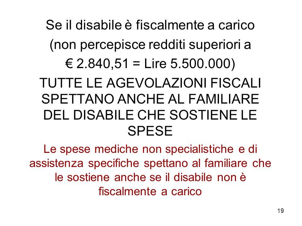 Se il disabile è fiscalmente a carico