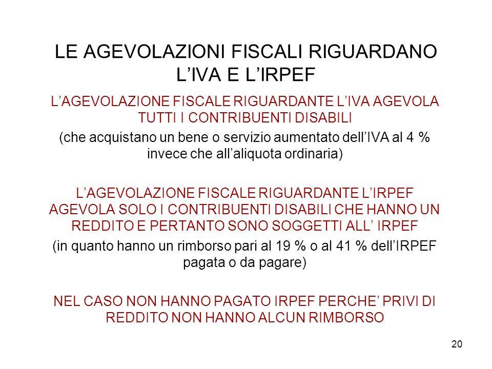 LE AGEVOLAZIONI FISCALI RIGUARDANO L'IVA E L'IRPEF