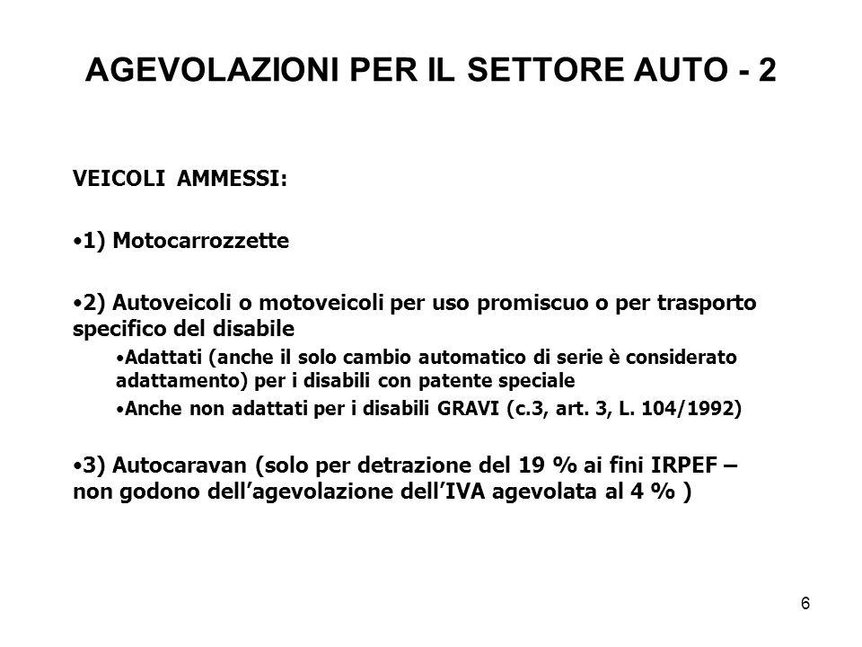 AGEVOLAZIONI PER IL SETTORE AUTO - 2