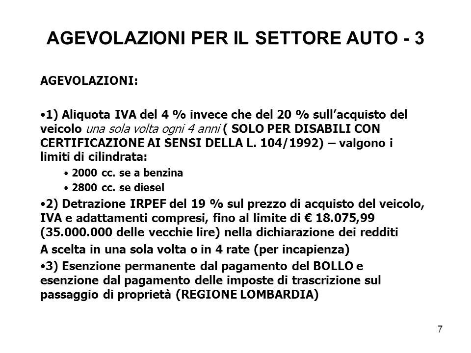 AGEVOLAZIONI PER IL SETTORE AUTO - 3