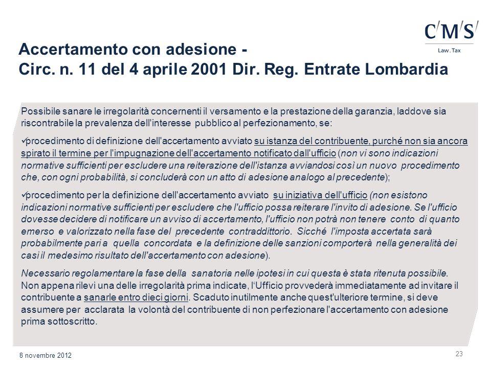 Accertamento con adesione - Circ. n. 11 del 4 aprile 2001 Dir. Reg