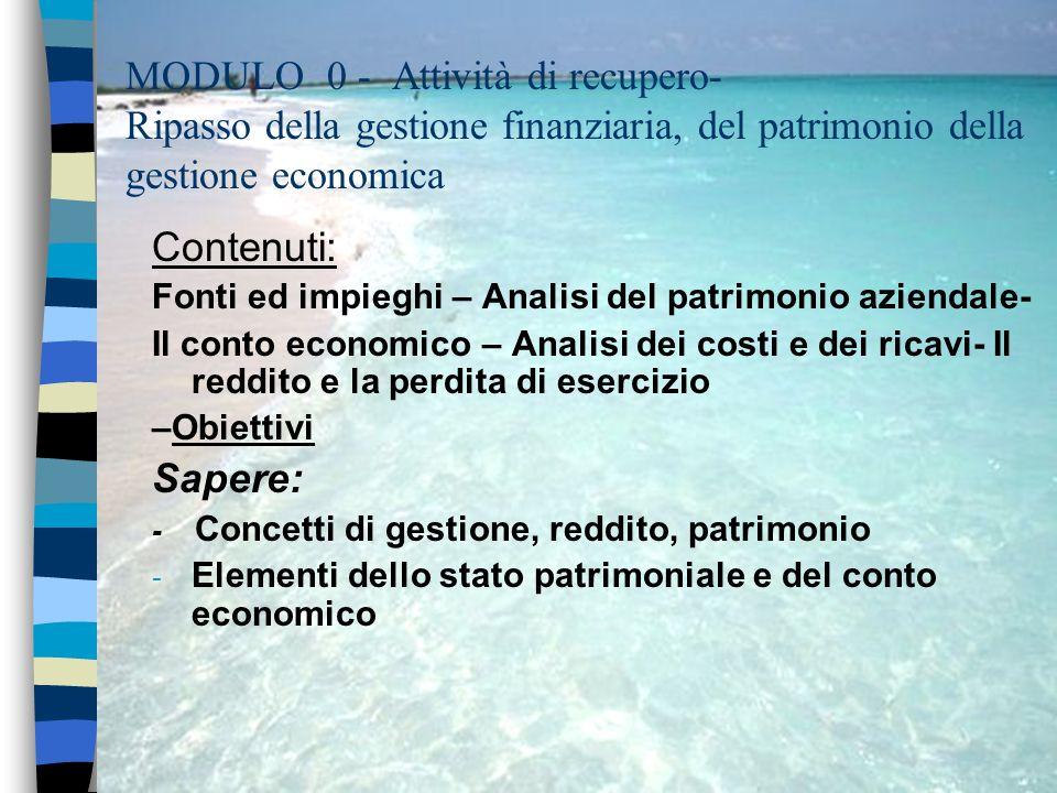 MODULO 0 - Attività di recupero- Ripasso della gestione finanziaria, del patrimonio della gestione economica