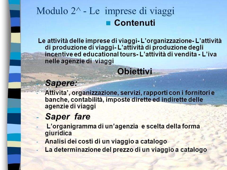Modulo 2^ - Le imprese di viaggi