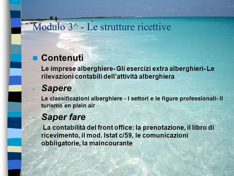 Modulo 3^ - Le strutture ricettive