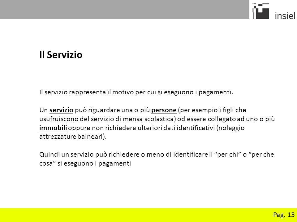 Il Servizio Il servizio rappresenta il motivo per cui si eseguono i pagamenti.