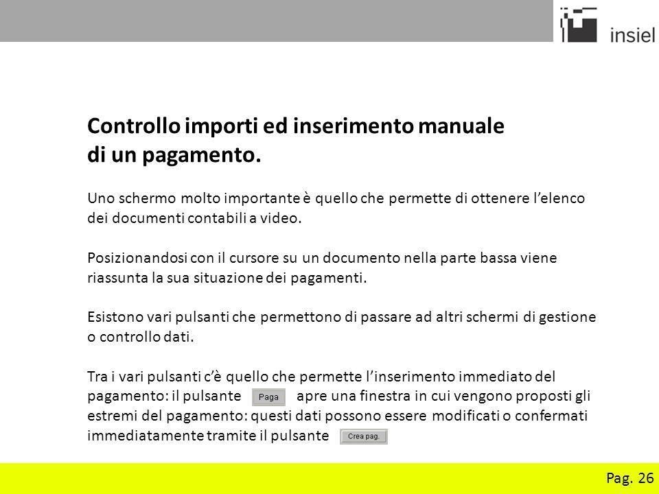 Controllo importi ed inserimento manuale di un pagamento.