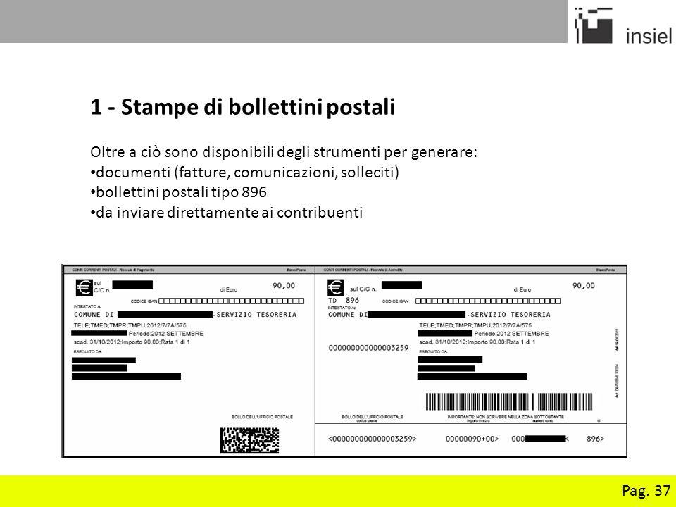1 - Stampe di bollettini postali