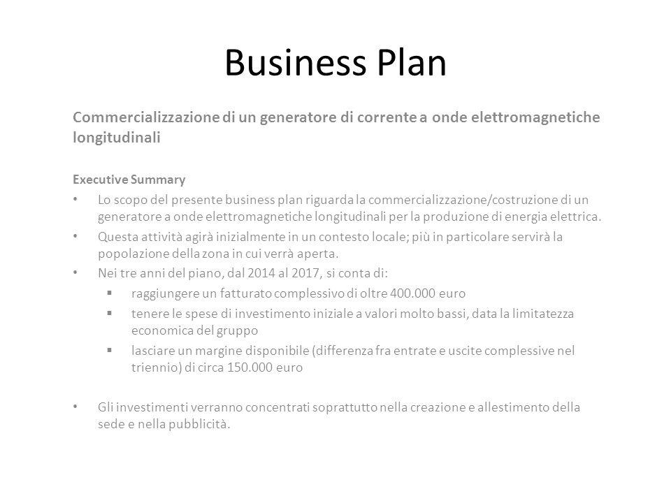 Business Plan Commercializzazione di un generatore di corrente a onde elettromagnetiche longitudinali.