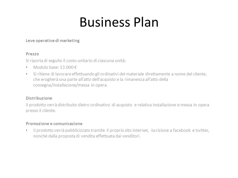 Business Plan Leve operative di marketing Prezzo