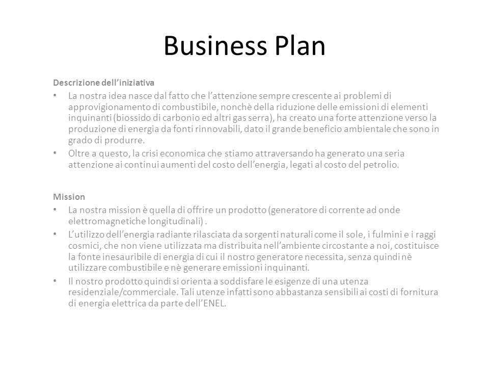 Business Plan Descrizione dell'iniziativa.