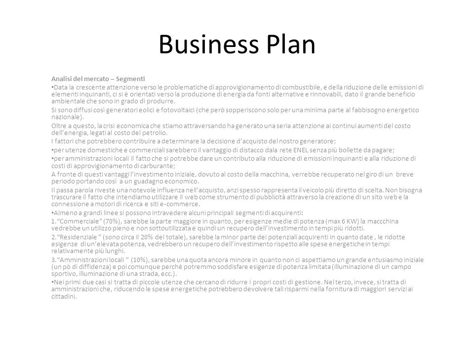 Business Plan Analisi del mercato – Segmenti