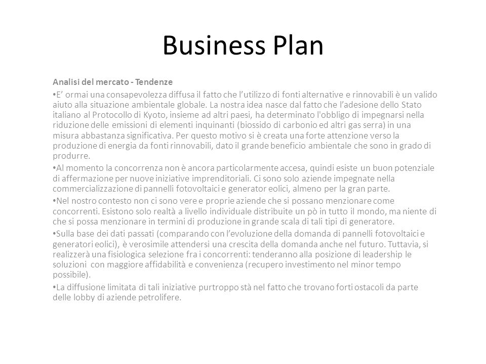 Business Plan Analisi del mercato - Tendenze