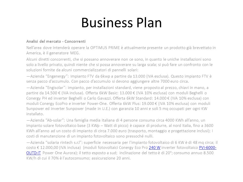 Business Plan Analisi del mercato - Concorrenti