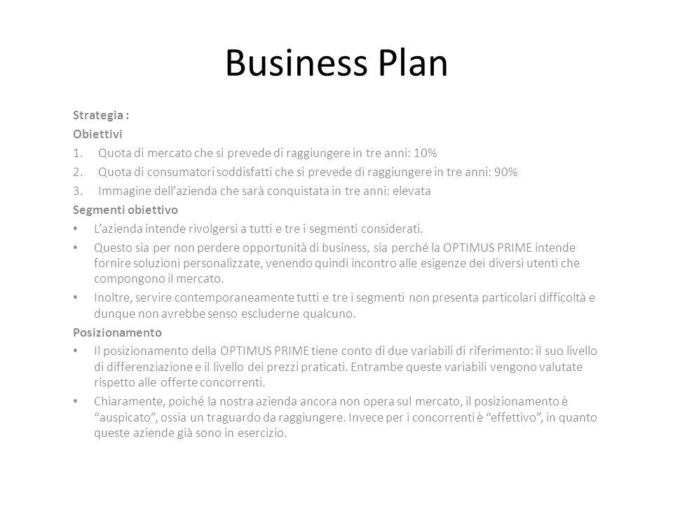 Business Plan Strategia : Obiettivi