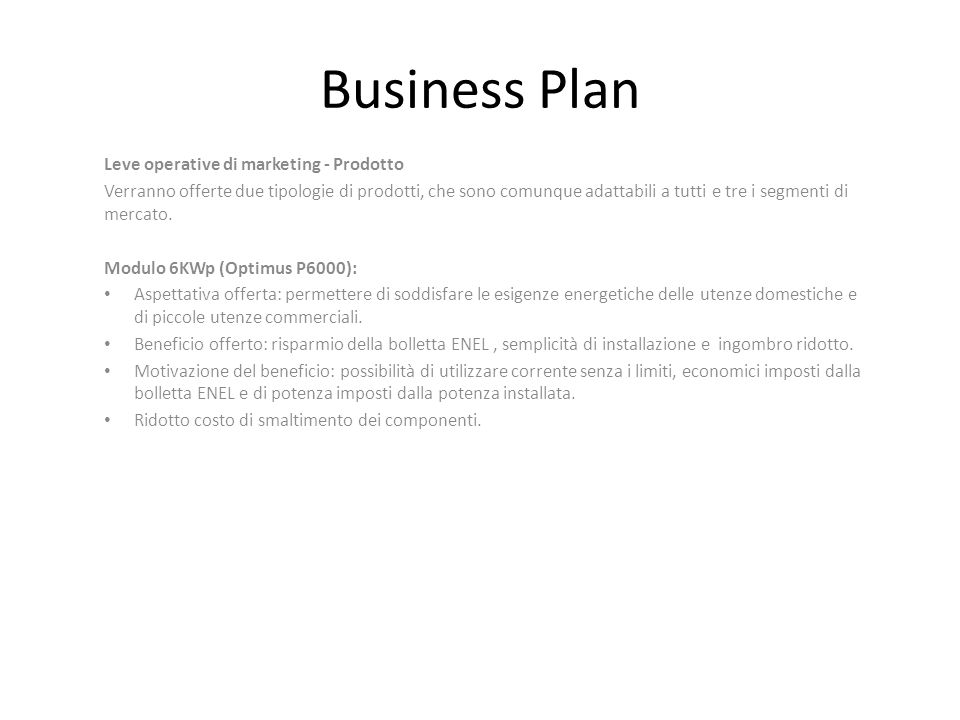 Business Plan Leve operative di marketing - Prodotto
