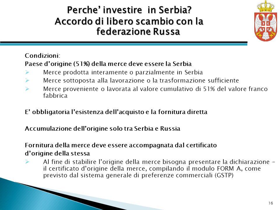 Perche' investire in Serbia