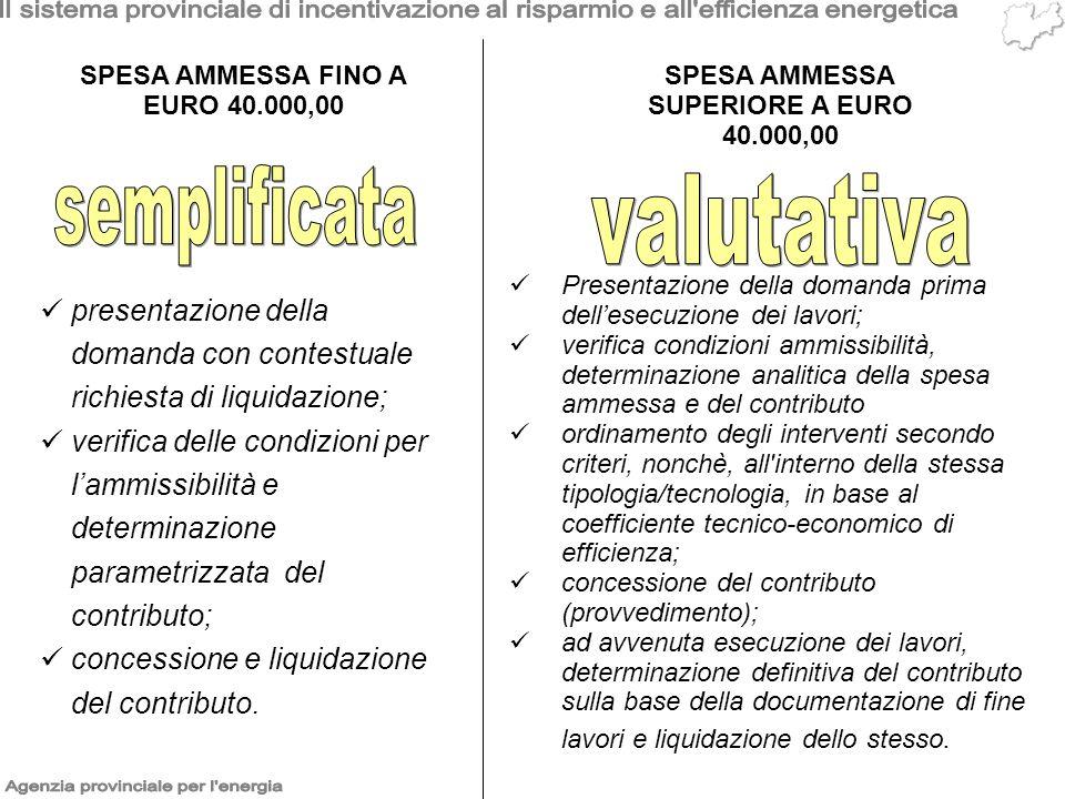 SPESA AMMESSA FINO A EURO 40.000,00