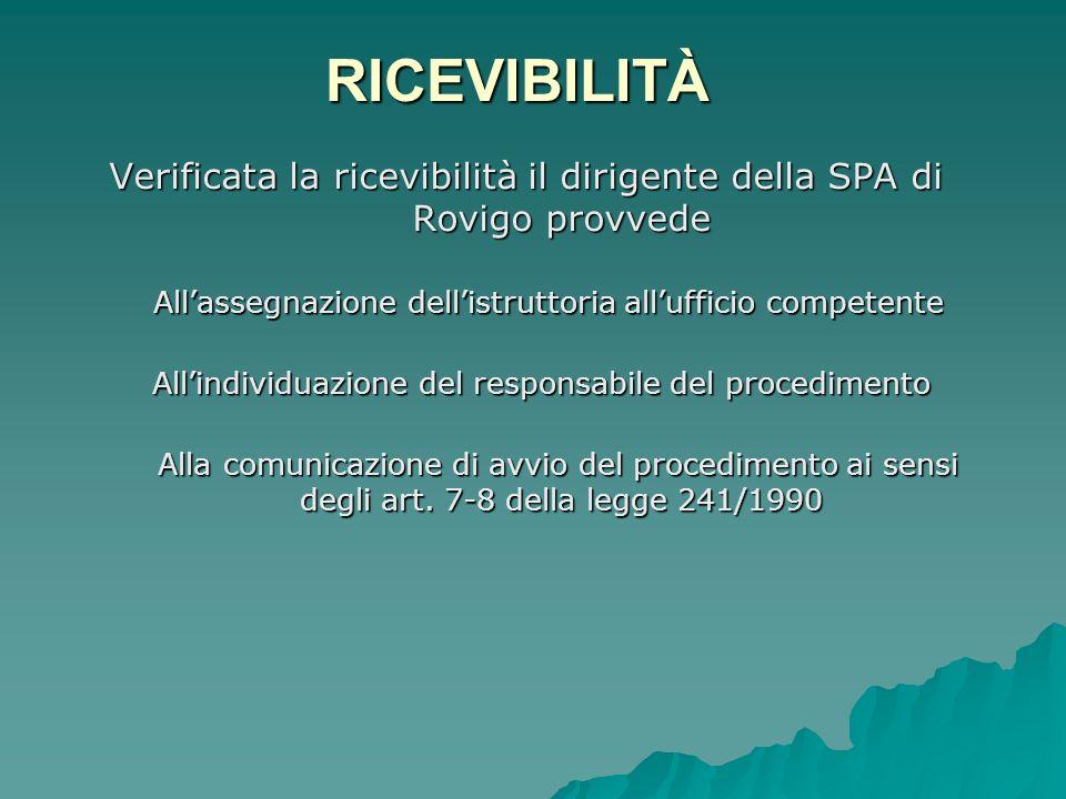RICEVIBILITÀ Verificata la ricevibilità il dirigente della SPA di Rovigo provvede. All'assegnazione dell'istruttoria all'ufficio competente.