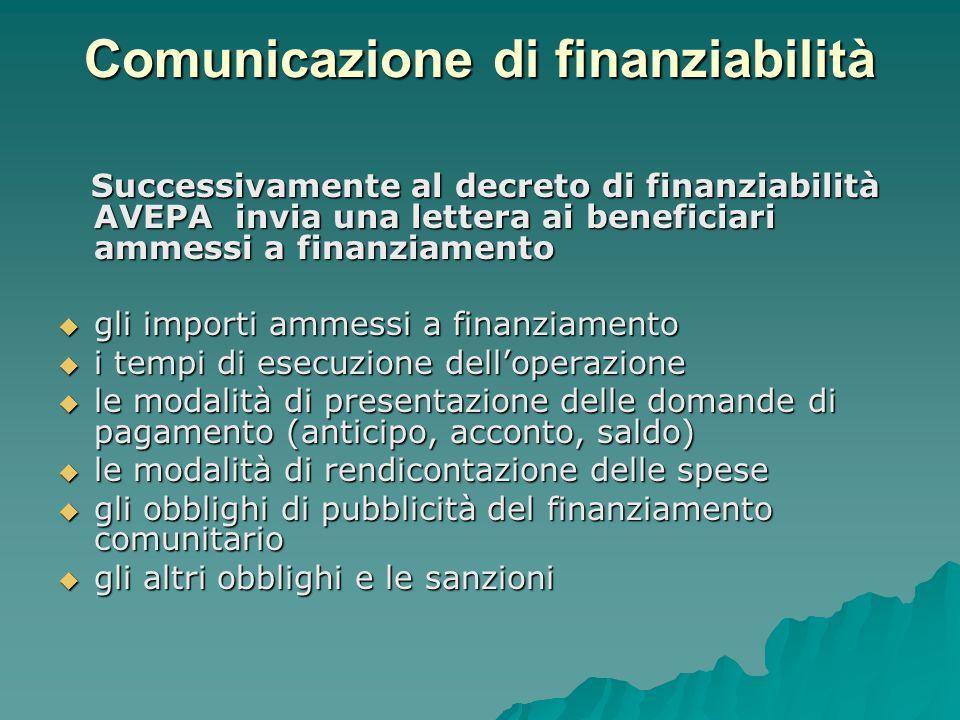 Comunicazione di finanziabilità